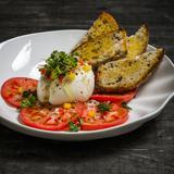 Burrata with Tomato in Lemon Pepper Vinaigrette